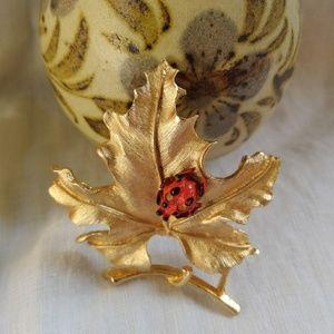 Ladybug on a Leaf Brooch Vintage